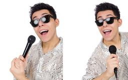 Το άτομο με mic που απομονώνεται στο λευκό Στοκ Φωτογραφίες