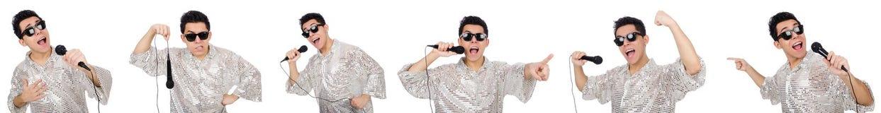 Το άτομο με mic που απομονώνεται στο λευκό στοκ φωτογραφία με δικαίωμα ελεύθερης χρήσης