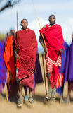 Το άτομο μιας φυλής Masai παρουσιάζει τελετουργικά άλματα Στοκ φωτογραφίες με δικαίωμα ελεύθερης χρήσης