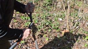 Το άτομο ξύνει το ξύλινο ραβδί με ένα τσεκούρι φιλμ μικρού μήκους