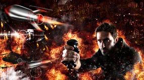 Το άτομο παίζει με videogames με το πηδάλιο μια πολεμική μάχη Στοκ φωτογραφία με δικαίωμα ελεύθερης χρήσης