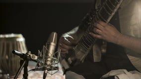 Το άτομο παίζει σε sitar απόθεμα βίντεο