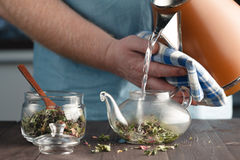 Το άτομο παρασκευάζει το βοτανικό τσάι σε μια κατσαρόλα στοκ φωτογραφία με δικαίωμα ελεύθερης χρήσης