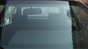 το άτομο πλένει το αυτοκίνητο απόθεμα βίντεο