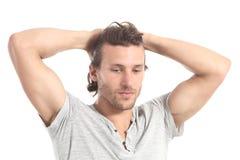 Το άτομο που ανησυχείται το κεφάλι του με παραδίδει στοκ εικόνες με δικαίωμα ελεύθερης χρήσης
