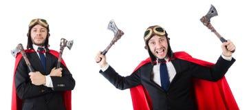 Το άτομο που φορά τον κόκκινο ιματισμό στην αστεία έννοια Στοκ Φωτογραφίες
