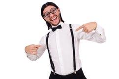 Το άτομο που φορά suspenders στο λευκό Στοκ φωτογραφίες με δικαίωμα ελεύθερης χρήσης