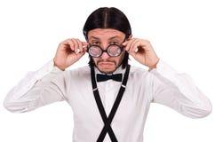 Το άτομο που φορά suspenders στο λευκό Στοκ Φωτογραφία