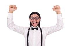 Το άτομο που φορά suspenders στο λευκό Στοκ Εικόνες