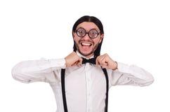 Το άτομο που φορά suspenders στο λευκό Στοκ φωτογραφία με δικαίωμα ελεύθερης χρήσης