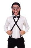 Το άτομο που φορά suspenders στο λευκό Στοκ εικόνες με δικαίωμα ελεύθερης χρήσης