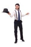 Το άτομο που φορούν το καπέλο και suspenders που απομονώνονται επάνω Στοκ φωτογραφίες με δικαίωμα ελεύθερης χρήσης