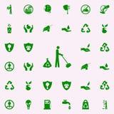 το άτομο σκουπίζει το πράσινο εικονίδιο καθολικό εικονιδίων GREENPEACE που τίθεται για τον Ιστό και κινητό απεικόνιση αποθεμάτων