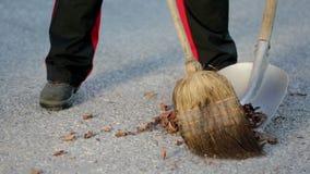 Το άτομο σκουπίζει τα φύλλα επάνω στο φτυάρι και emptys το wheelbarrow απόθεμα βίντεο