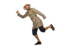 Το άτομο στο καπέλο σαφάρι που απομονώνεται στο λευκό Στοκ Εικόνες