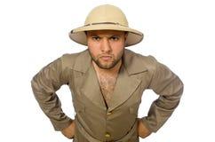 Το άτομο στο καπέλο σαφάρι που απομονώνεται στο λευκό Στοκ φωτογραφία με δικαίωμα ελεύθερης χρήσης