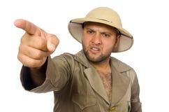 Το άτομο στο καπέλο σαφάρι που απομονώνεται στο λευκό Στοκ φωτογραφίες με δικαίωμα ελεύθερης χρήσης