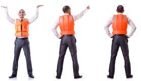 Το άτομο στο σακάκι ζωής που απομονώνεται στο λευκό Στοκ Εικόνα