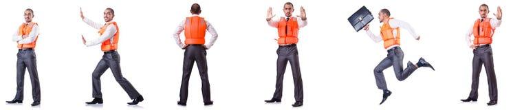 Το άτομο στο σακάκι ζωής που απομονώνεται στο λευκό Στοκ Εικόνες