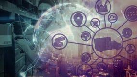 Το άτομο σύνθεσης αποθηκών εμπορευμάτων στην αποθήκη εμπορευμάτων συνδύασε με την εικόνα, την απεικόνιση και το anima πόλεων απόθεμα βίντεο