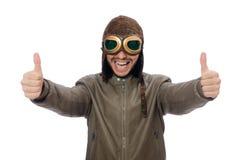 Το άτομο τα πειραματικά προστατευτικά δίοπτρα που απομονώνονται που φορά στο λευκό Στοκ Εικόνα