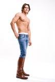 το άτομο τζιν μόδας μποτών &epsilon Στοκ Εικόνα