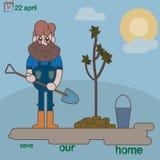 Το άτομο φυτεύει ένα μικρό δέντρο Στοκ Εικόνες