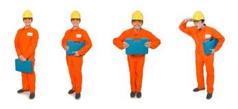 Το άτομο φόρμες που απομονώνεται στις πορτοκαλιές στο λευκό Στοκ φωτογραφία με δικαίωμα ελεύθερης χρήσης