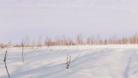 Το άτομο το χειμώνα ντύνει το περπάτημα και την οδήγηση στο μίνι όχημα για το χιόνι βαθιά snowdrifts στον τομέα απόθεμα βίντεο