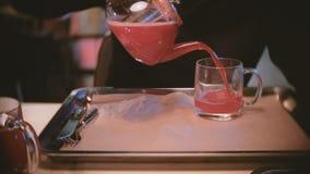 Το άτομο χύνει κάποιο τσάι των βακκίνιων από teapot στο φλυτζάνι Χέρια ατόμων ` s κινηματογραφήσεων σε πρώτο πλάνο απόθεμα βίντεο