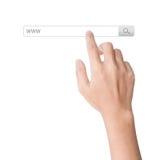 Το δάχτυλο χτυπά στο απομονωμένο μηχανή αναζήτησης άσπρο backgr ράβδων εργαλείων αναζήτησης www Στοκ Εικόνα