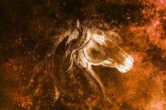 Το άλογο σχεδίων σε παλαιό χαρτί, αρχικό χέρι σύρει Επίδραση χρώματος Στοκ Εικόνες