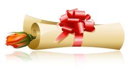 το έγγραφο δώρων τόξων κόκκ&io Στοκ Εικόνα