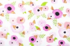 Το έγγραφο σχεδίων λουλουδιών για το υφαντικό σχέδιο ταπετσαριών γεμίζει το μαντίλι περικαλυμμάτων δώρων τυπωμένων υλών επιφάνεια στοκ φωτογραφίες με δικαίωμα ελεύθερης χρήσης