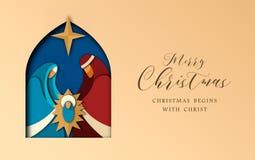 Το έγγραφο Χριστουγέννων έκοψε την κάρτα του Ιησού και της ιερής οικογένειας ελεύθερη απεικόνιση δικαιώματος