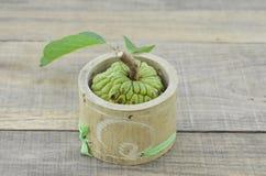 Το έγκαυμα το μπαμπού με το μήλο κρέμας σε ξύλινο στοκ φωτογραφία με δικαίωμα ελεύθερης χρήσης