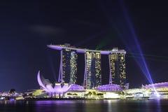 Το λέιζερ παρουσιάζει στο ξενοδοχείο Σιγκαπούρη MBS Στοκ Φωτογραφίες