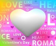 Το έμβλημα αγάπης τρισδιάστατο δίνει + τυπογραφία ελεύθερη απεικόνιση δικαιώματος