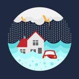 Το έμβλημα καταστροφής πλημμυρών με το σπίτι και το αυτοκίνητο στο νερό πλημμύρας και τη βροχή περιβάλλουν το διανυσματικό σχέδιο διανυσματική απεικόνιση