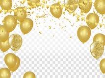 Το έμβλημα κομμάτων εορτασμού με τα χρυσά μπαλόνια και ελίσσεται διανυσματική απεικόνιση