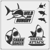 Το έμβλημα με τον καρχαρία για μια αθλητική ομάδα Ετικέτες, εικονίδια και στοιχεία σχεδίου Σχέδιο τυπωμένων υλών για τις μπλούζες στοκ φωτογραφία