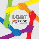 Το έμβλημα υπερηφάνειας LGBT με το ζωηρόχρωμο χέρι λαβής χεριών γύρω από το πλαίσιο κύκλων και το ουράνιο τόξο σημαιοστολίζουν το διανυσματική απεικόνιση