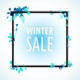 Το έμβλημα χειμερινής πώλησης, μπλε watercolor φεύγει και ανθίζει στα σύνορα εμβλημάτων με τις λέξεις χειμερινής πώλησης Minimali διανυσματική απεικόνιση