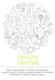 Το έμβλημα περιλαμβάνει τα εικονίδια των υγιών τροφίμων και του αθλητισμού Στοκ φωτογραφίες με δικαίωμα ελεύθερης χρήσης