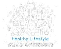 Το έμβλημα περιλαμβάνει τα εικονίδια των υγιών τροφίμων και του αθλητισμού Στοκ Φωτογραφία