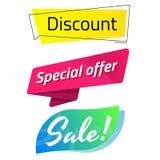 Το έμβλημα πώλησης ονομάζει την έκπτωση την ειδική προσφορά έξοχη πώληση EPS10 Διανυσματική απεικόνιση