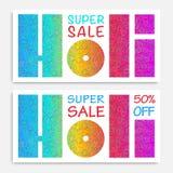 Το έμβλημα πώλησης Holi με το σφραγισμένο έγγραφο για το ουράνιο τόξο στρογγυλεύει το υπόβαθρο Στοκ Φωτογραφίες