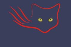 Το έμβλημα των γατών στο σκοτάδι Στοκ Εικόνες
