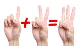 Το ένα συν δύο είναι ίσο με τρία Στοκ Φωτογραφία