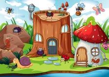 Το έντομο δίπλα το σπίτι διανυσματική απεικόνιση